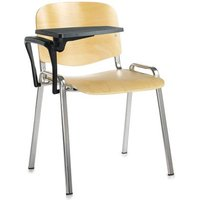 Taurus wooden meeting room chair with writing tablet - beech with chrome frame