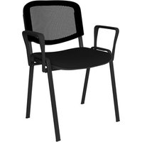 Taurus mesh back meeting room stackable chair with fixed arms - black