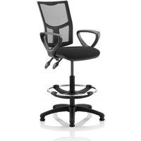 Eclipse II Lever Task Operator Chair Mesh Back With Black Seat With loop Arms With Hi Rise Draughtsman Kit