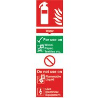 Safety Sign Fire Extinguisher Water 300x100mm PVC FR09425R