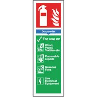 Safety Sign Fire Extinguisher Dry Powder 300x100mm S/Adhesive FR02625S