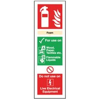 Safety Sign Fire Extinguisher Foam 300x100mm Self Adhesive FR08025S
