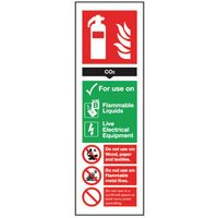 Safety Sign Carbon Dioxide Extinguisher 300x100mm S/Adhesive FR02125S