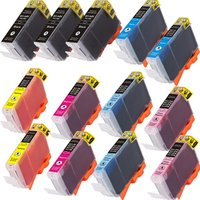 13 Pack - Compatible Canon BCI-6 Ink Cartridge Set, Package Includes 3 Black, 2 Cyan, 2 Magenta, 2 Yellow, 2 Photo Cyan and 2 Photo Magenta ink cartridges