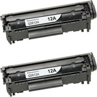 2 Pack - Compatible Replacement For HP 12A Toner Cartridge, Black (Q2612A)