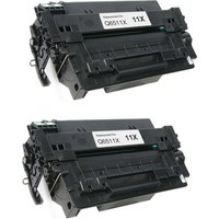 2 Pack - Compatible Replacement For HP 11X Toner Cartridge, Black, High Yield (Q6511X)