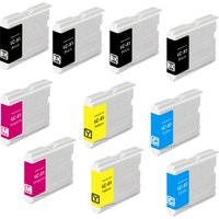 10 Pack - Compatible Brother LC51 Ink Cartridge Set, Package Includes 4 Black, 2 Cyan, 2 Magenta and 2 Yellow Ink Cartridge
