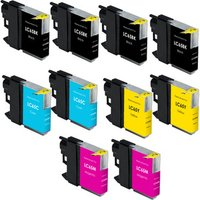 10 Pack - Compatible Brother LC65 Ink Cartridge Set, High Yield, Package Includes 4 Black, 2 Cyan, 2 Magenta and 2 Yellow Ink Cartridge