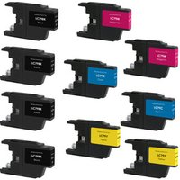 10 Pack - Compatible Brother LC79 Ink Cartridge Set, Super High Yield, Package Includes 4 Black, 2 Cyan, 2 Magenta and 2 Yellow Ink Cartridges