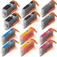 12 Pack - Compatible Canon PGi-250XL Ink Cartridges & Canon Cli-251XL Ink Cartridge Set, High Yield, Package Includes 2 PGi-250XL Black, 2 Cli-251XL Black, 2 Cyan, 2 Magenta 2 Yellow and 2 Gray Ink Cartridges