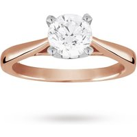 Solitaire Brilliant Cut 1.00 Carat Diamond Ring Set In 18 Carat Rose Gold - Ring Size M