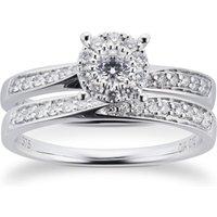 9ct White Gold Multistone Diamond Bridal Set - Ring Size O