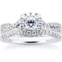 9ct White Gold Diamond Halo Bridal Set - Ring Size N