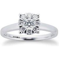 9ct White Gold 0.40 Carat Total Weight Diamond Multi Stone Ring - Ring Size P