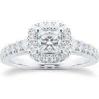 18ct White Gold Princess Cut 1.00 Carat 88 Facet Diamond Ring - Ring Size L