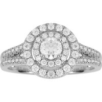 18ct White Gold 0.84cttw Double Halo Engagement Ring - Ring Size N