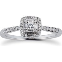 9ct White Gold 0.25cttw Diamond Mixed Cut Cluster Ring - Ring Size P