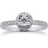 9ct White Gold 0.20ct Diamond Halo Illusion Ring - Ring Size J