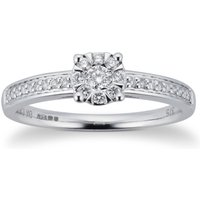 9ct White Gold 0.25cttw Diamond Multistore Ring - Ring Size I