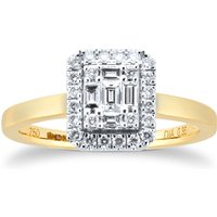 18ct Yellow Gold 0.35ct Diamond Mixed Cut Cluster Engagement Rings - Ring Size J.