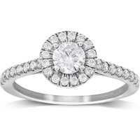 9ct White Gold 0.70cttw Diamond Halo Engagement Ring - Ring Size O