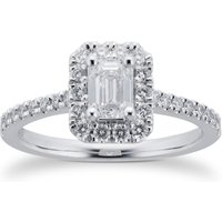 Platinum 0.80cttw Diamond Emerald Cut Halo Engagement Ring