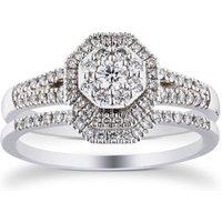 18ct White Gold 0.50cttw Hexagon Bridal Set - Ring Size N.