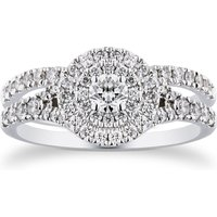 18ct White Gold 1.00cttw Round Bridal Set - Ring Size J.
