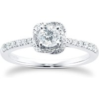 9ct White Gold 0.75cttw Diamond Flower Halo Ring - Ring Size M