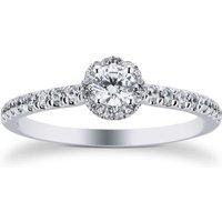 9ct White Gold 0.40cttw Diamond Flower Halo Ring - Ring Size K