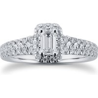 18ct White Gold 0.75cttw Diamond Double Row Emerald Halo Ring - Ring Size K