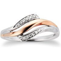 9ct Rose And White Gold 0.06ct Diamond Twist Ring - Ring Size M