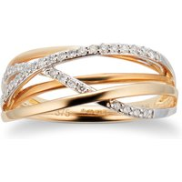 9ct White and Yellow Gold 0.15cttw Cross Over Ring - Ring Size V