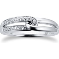 9ct White Gold 0.12cttw Diamond Infinity Ring - Ring Size P