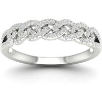 9ct White Gold 0.20cttw Diamond Chain Link Stacker Ring - Ring Size M