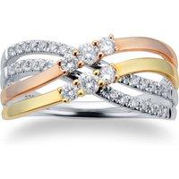 9ct Three Coloured 0.45ct Diamond Wide Twist Ring - Ring Size O.