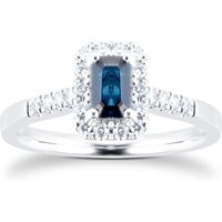 9ct White Gold Sapphire Emerald Cut Halo Ring - Ring Size P