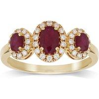 18ct Yellow Gold Ruby & 0.25cttw Diamond Three Stone Ring - Ring Size P