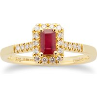 9ct Yellow Gold Ruby Emerald Cut Halo Ring - Ring Size L