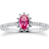 Ruby and 0.12ct Diamond Ring in 9ct White Gold - Ring Size J