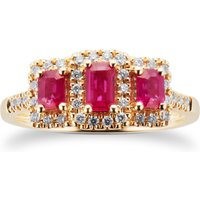 Ruby and Diamond Three Stone Ring in 9ct Yellow Gold - Ring Size M