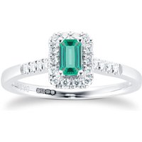 9ct White Gold Emerald and Diamond Halo Ring - Ring Size P