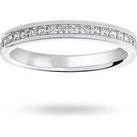 9 Carat White Gold 0.50 Carat Princess Cut Channel Set Half Eternity Ring - Ring Size K