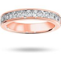 18 Carat Rose Gold 1.50 Carat Princess Cut Half Eternity Ring - Ring Size N