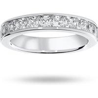 9 Carat White Gold 1.50 Carat Princess Cut Half Eternity Ring - Ring Size Y