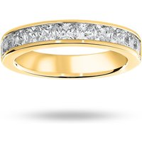 9 Carat Yellow Gold 1.50 Carat Princess Cut Half Eternity Ring - Ring Size P