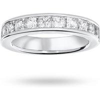 18 Carat White Gold 2.00 Carat Princess Cut Half Eternity Ring - Ring Size O