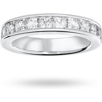18 Carat White Gold 2.00 Carat Princess Cut Half Eternity Ring - Ring Size K