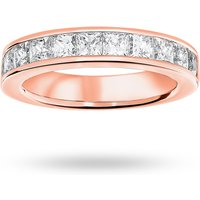 9 Carat Rose Gold 2.00 Carat Princess Cut Half Eternity Ring - Ring Size V