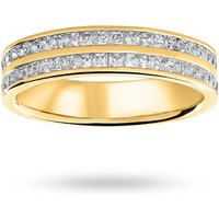 18 Carat Yellow Gold 0.75 Carat Princess Cut 2 Row Half Eternity Ring - Ring Size M